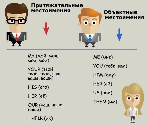 Объектные и притяжательные местоимения в английском языке