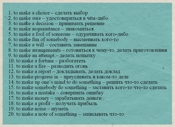 Употребление глагола make в устойчивых выражениях