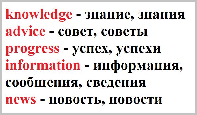 множественное число в английском, Слова-исключения